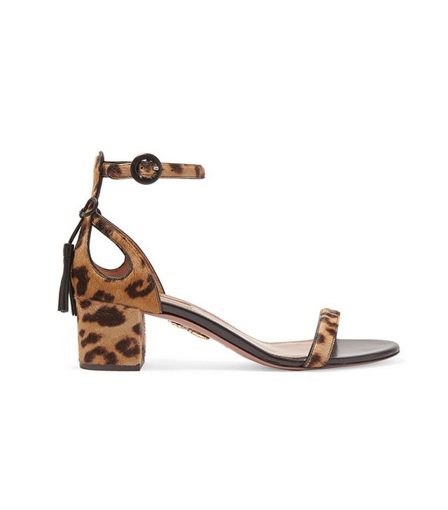 Aquazurra Pixie Leopard-Print Calf Hair Sandals