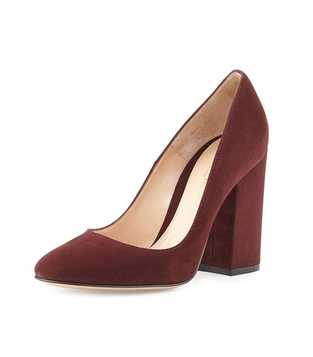 Gianvito Rossi Suede Chunky-Heel 85mm Pumps