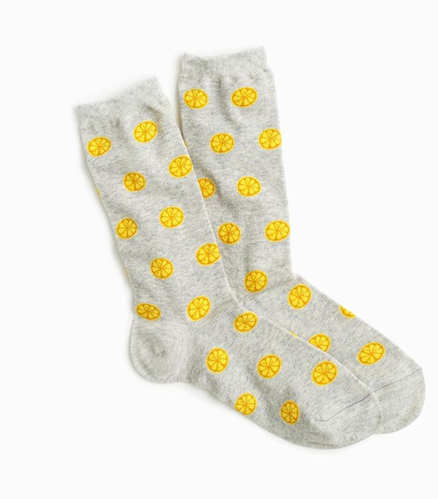 J.Crew Trouser Socks in Lemon Print