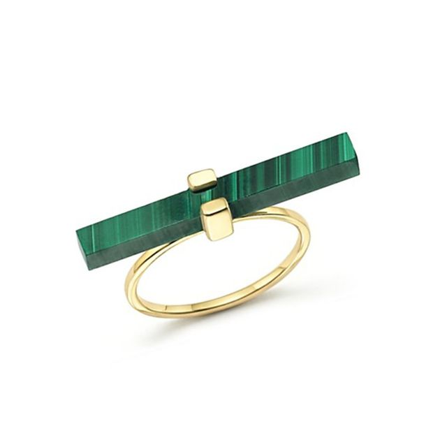 Mateo 14K Yellow Gold Cross Bar Ring With Malachite