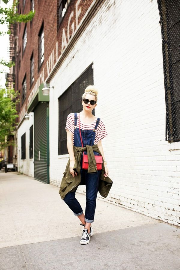 On Blaire Edie: Converse sneakers; Current/Elliott overalls; Vince bag; Prada sunglasses.