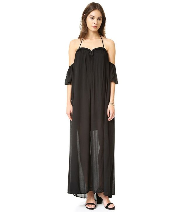 Re:named Crinkle Curve Flutter Sleeve Maxi Dress