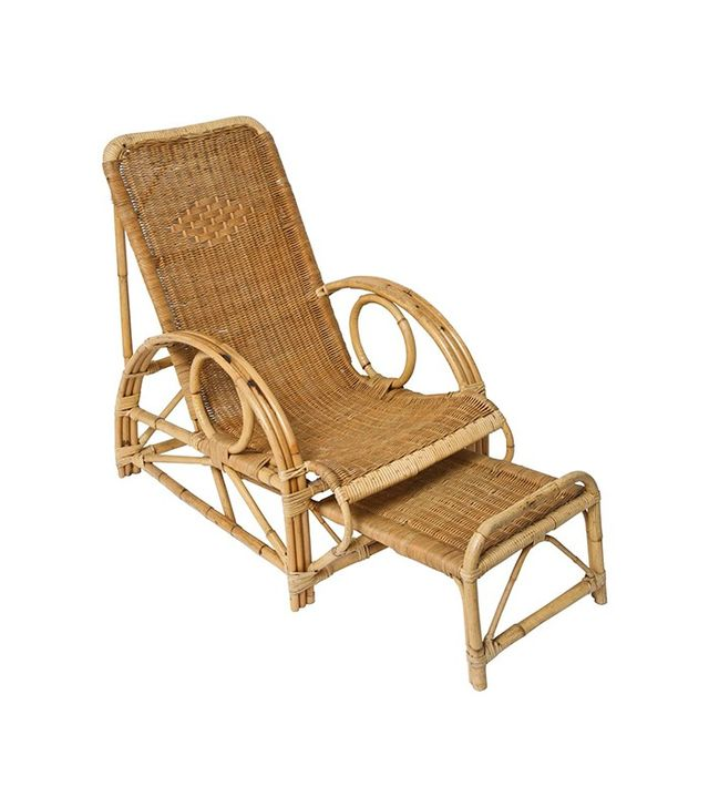 1stdibs Vintage French Provence Bamboo and Rattan Longue Chaise