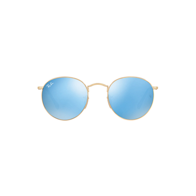 Sunglass Hut Ray-Ban Blue and Gold Shiny Round Sunglasses