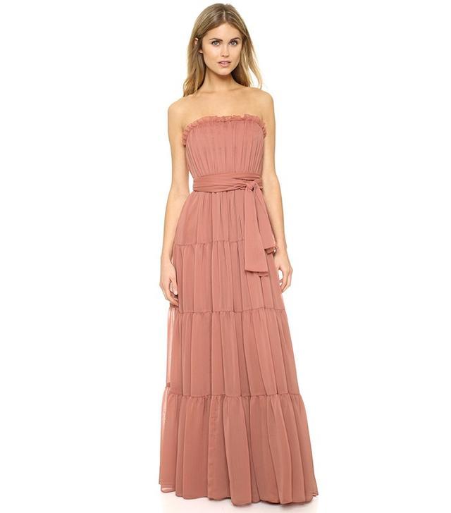Jill Jill Stuart Strapless Crinkle Chiffon Gown