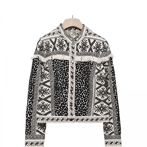 Black and White Embroidered Jacket
