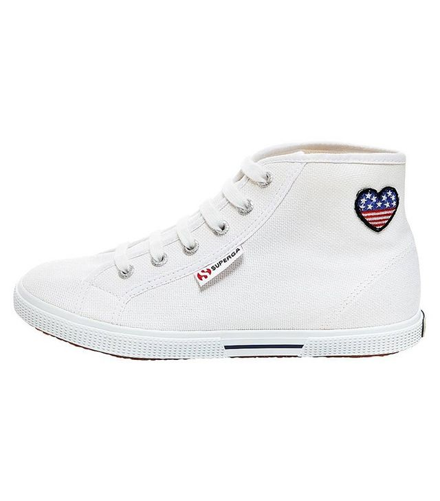 Superga x Target Canvas With Patch High Top Sneakers in White