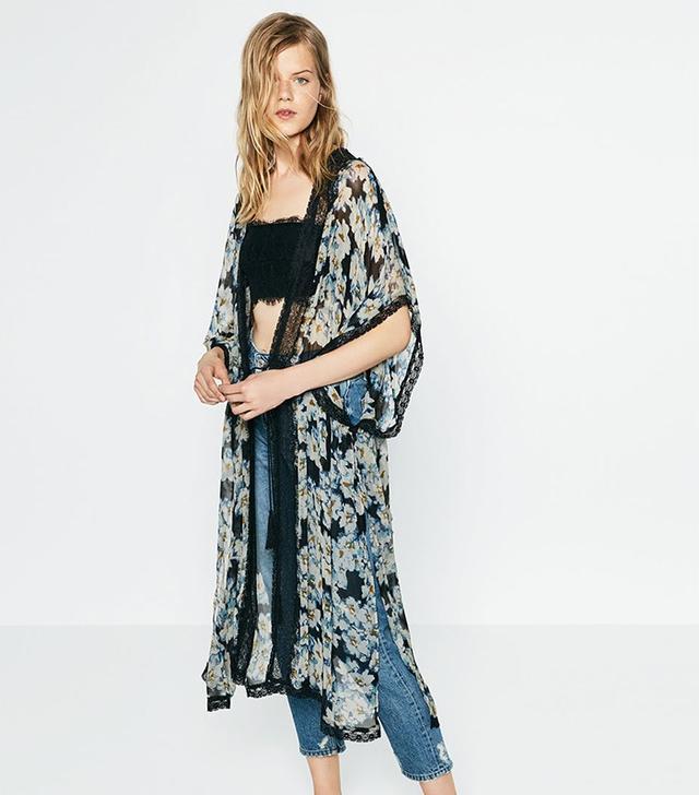 Zara Printed Lace Kimono