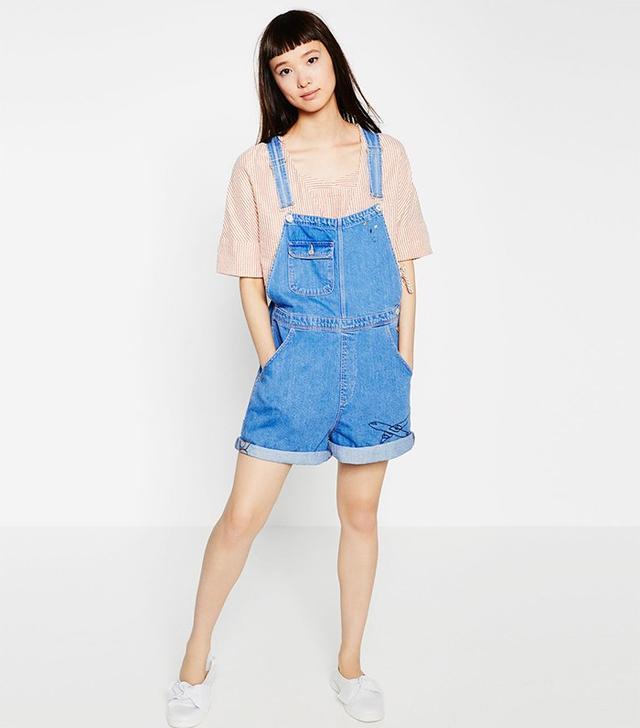 Zara Short Denim Jumpsuit