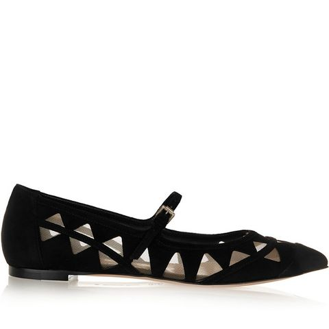 Mesh-Paneled Suede Pointed-toe Flats
