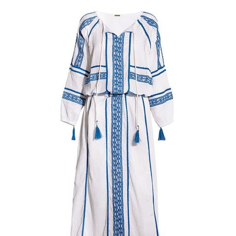 Embroidered Cotton-Crepon Maxi Dress