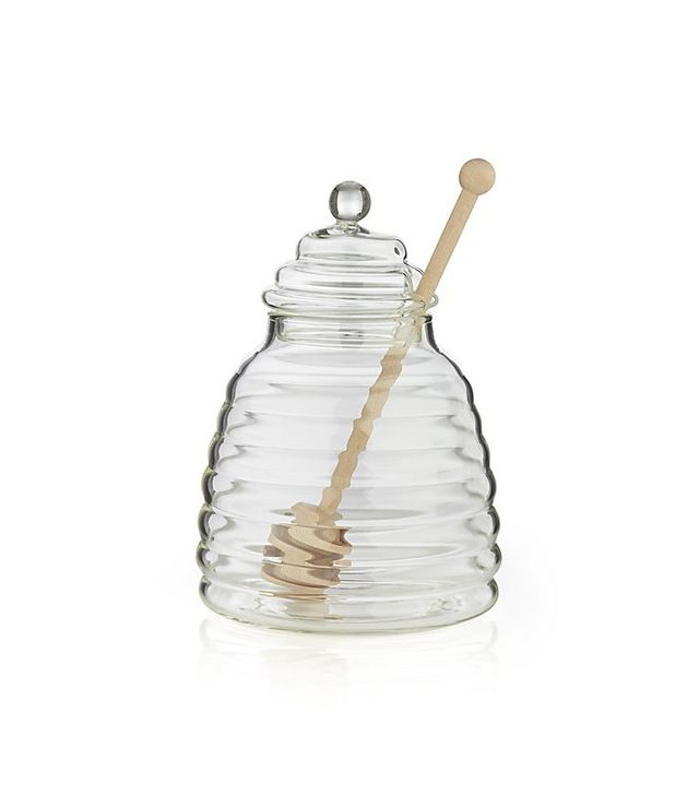 Crate and Barrel Beehive Glass Honey Jar With Wood Dipper