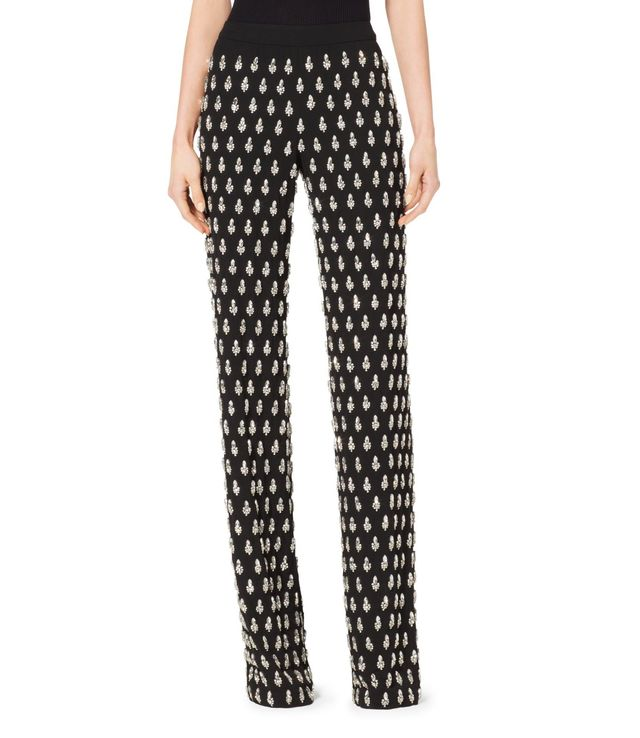 Michael Kors Collection Gem-Embroidered Paisley Georgette Pajama Trousers