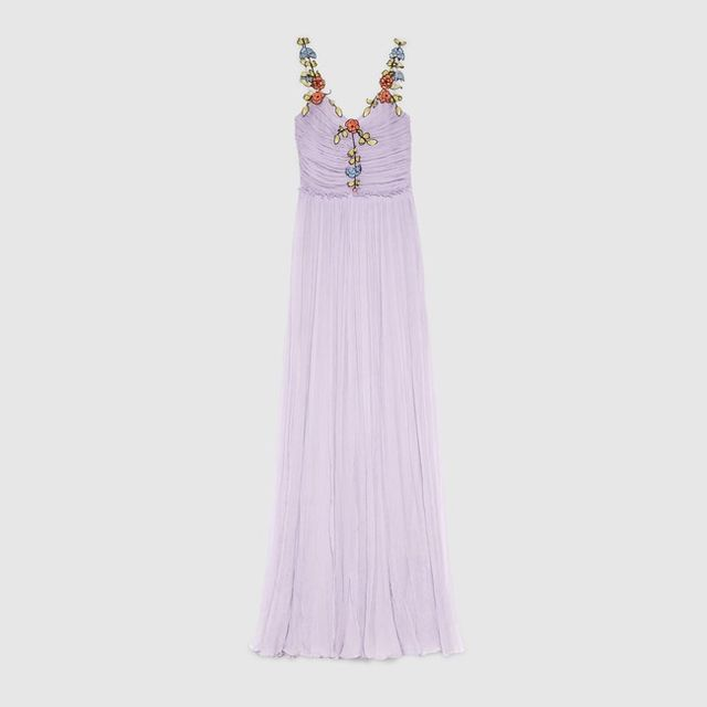 Gucci Silk Chiffon Embroidered Gown