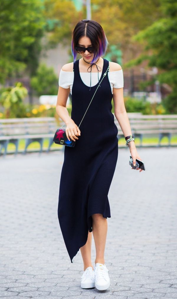 Outfit 3: Tank Dress + Off-the-Shoulder Top + Sneakers