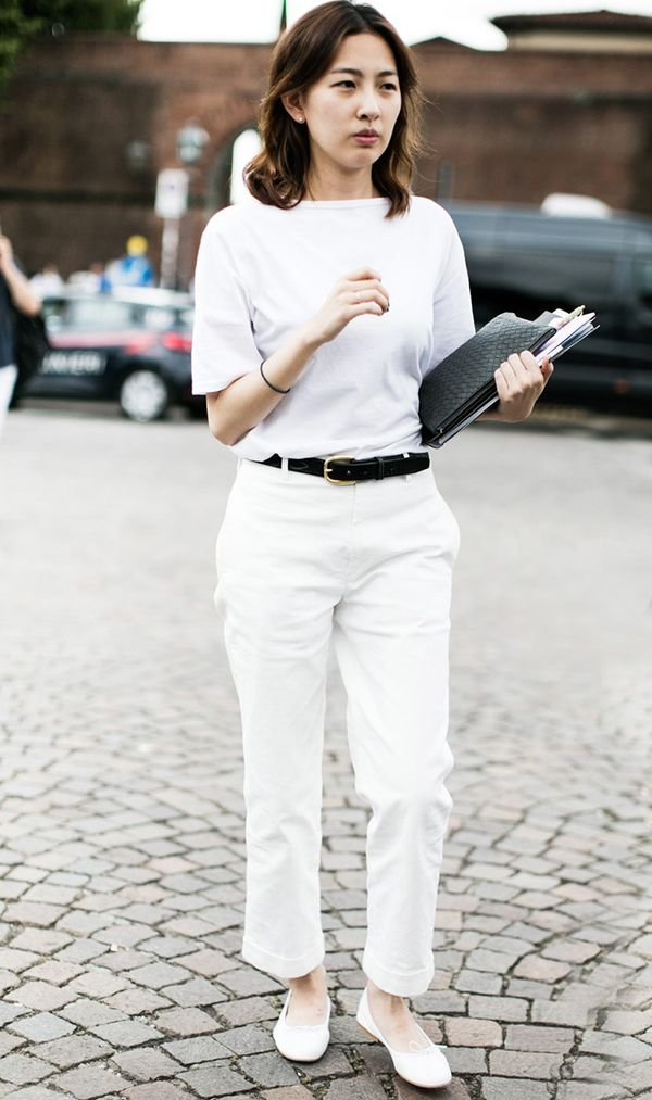 Outfit 5: White T-Shirt + Belt + White Trousers
