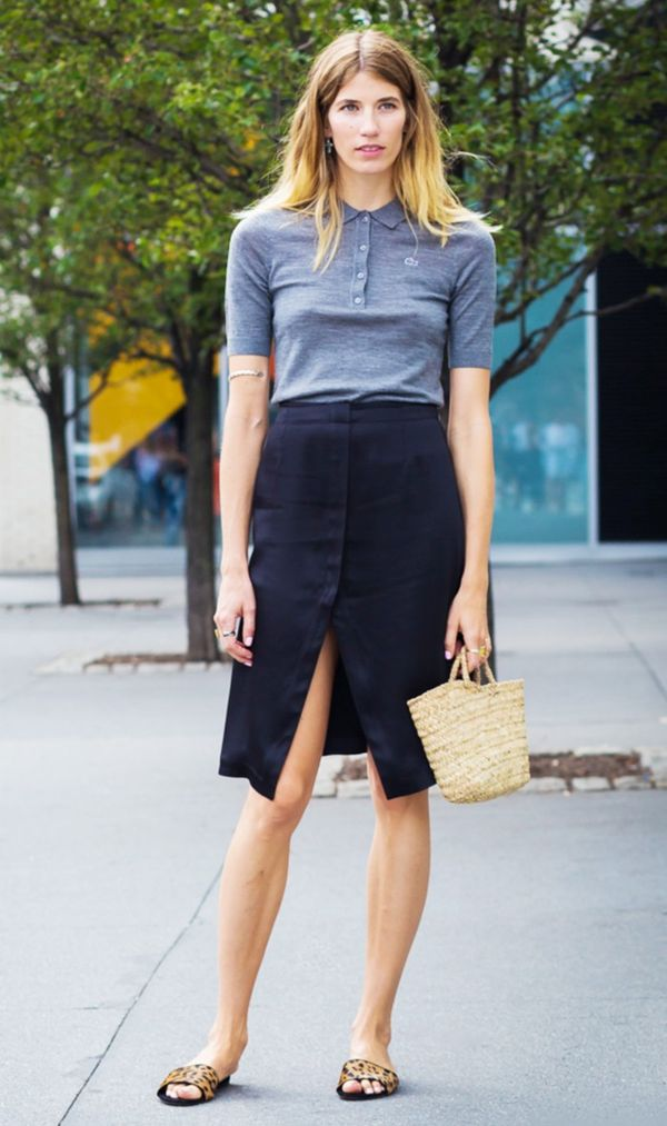 Outfit 6: Polo Shirt + Button-Front Skirt + Slides