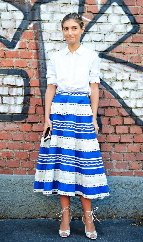 Outfit 4: White Shirt + Midi Skirt