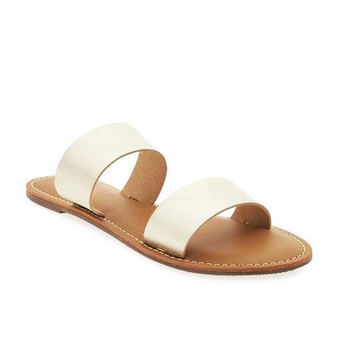 Faux-Leather Double-Strap Sandals