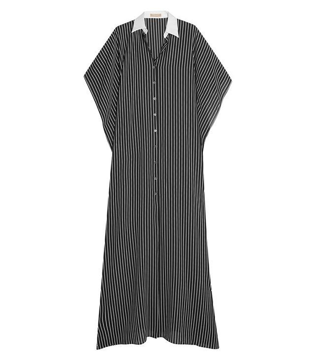 Michael Kors Oversized Pinstriped Silk Maxi Dress