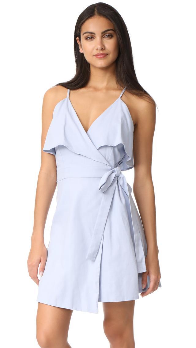 Cold Shoulder Wrap Ruffle Dress