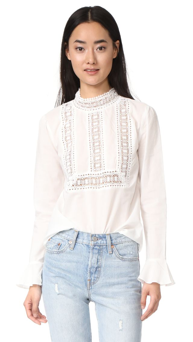Semi High Neck Top With Belle Sleeves
