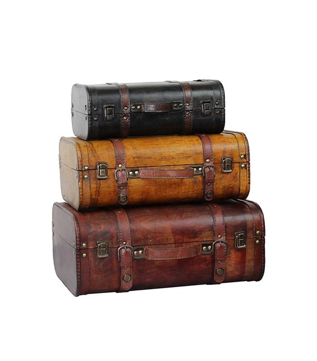Overstock Three Colored Vintage Style Luggage Suitcases
