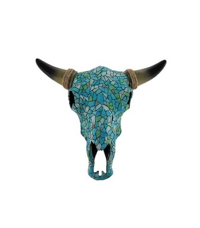 Lonestar Western Décor Mosaic Turquoise Steer Skull Wall Hanging