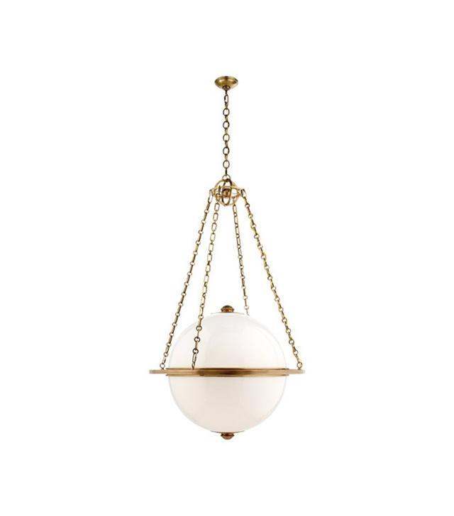 Visual Comfort + E.F. Chapman Antique Brass Globe Pendant