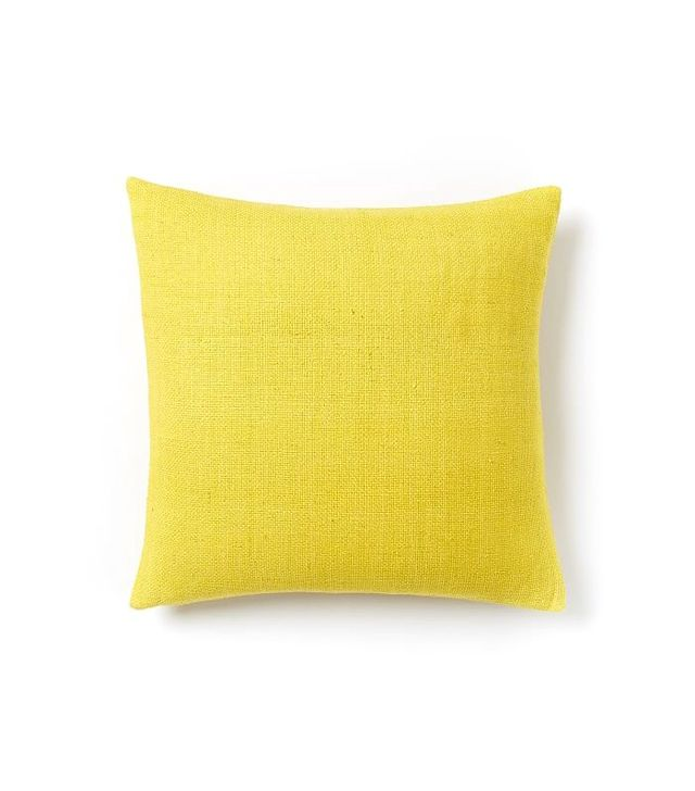 West Elm Silk Hand-Loomed Pillow Cover in Citrus Yellow