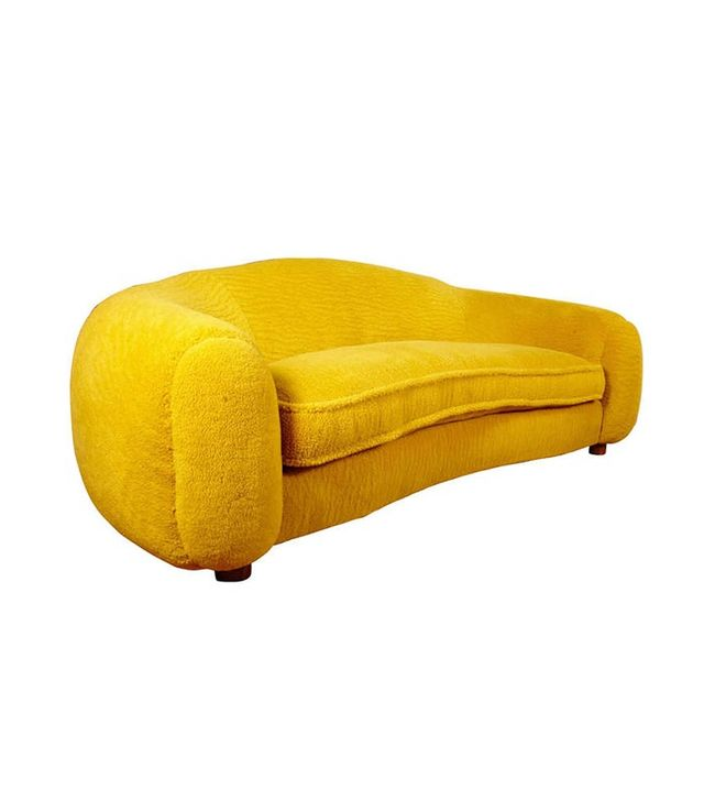 "Jean Royère Genuine Iconic ""Ours Polaire"" Couch in Yellow Wool Faux Fur"
