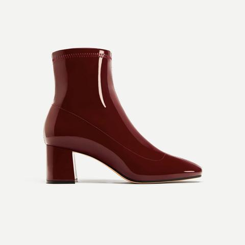 Patent Block Heel Boots