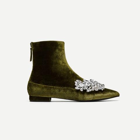 Flat Velvet Ankle Boots