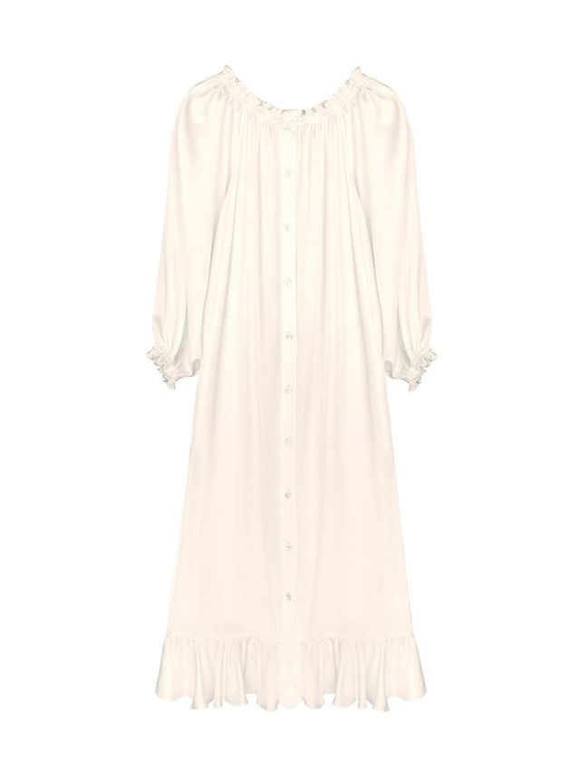 Sleeper Bridal Off-the-Shoulder Silk Dress