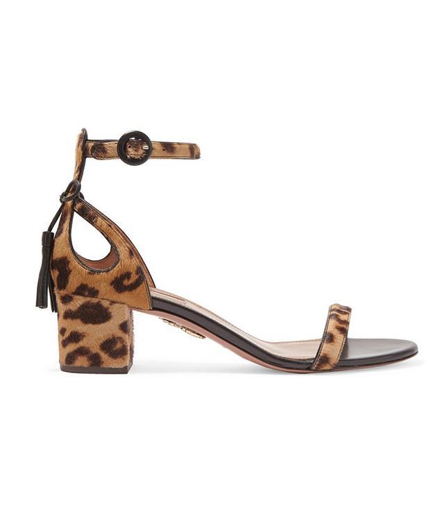 Aquazurra Pixie Leopard-Print Calf Hair Sandals