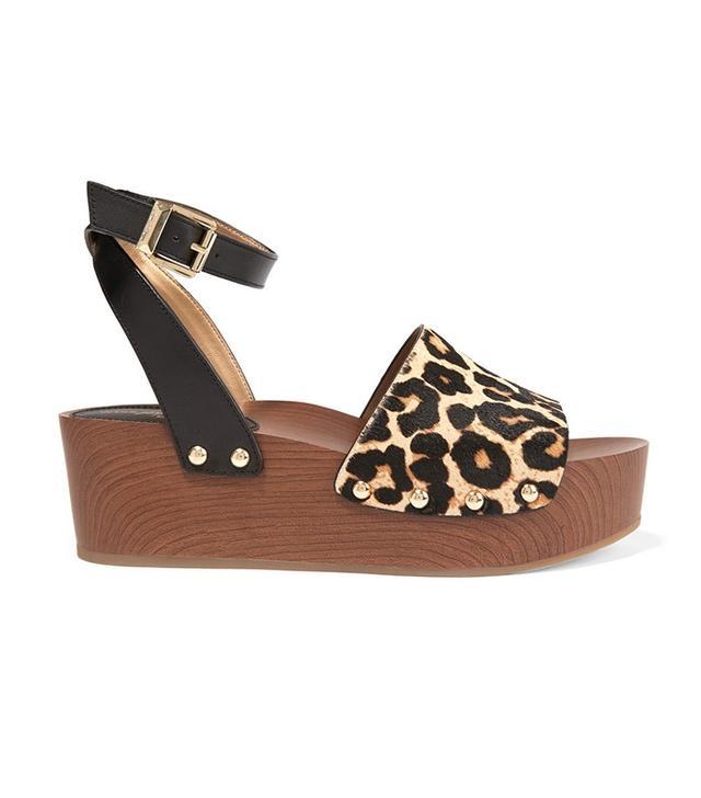 Sam Edelman Brynn Leopard-Print Calf Hair and Leather Wedge Sandals
