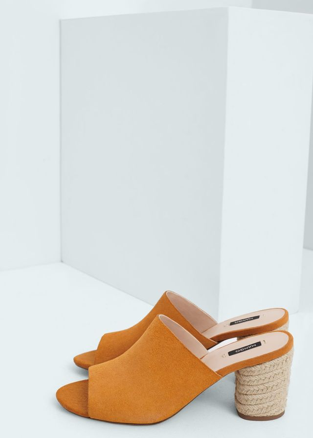 Mango Esparto Leather Sandals