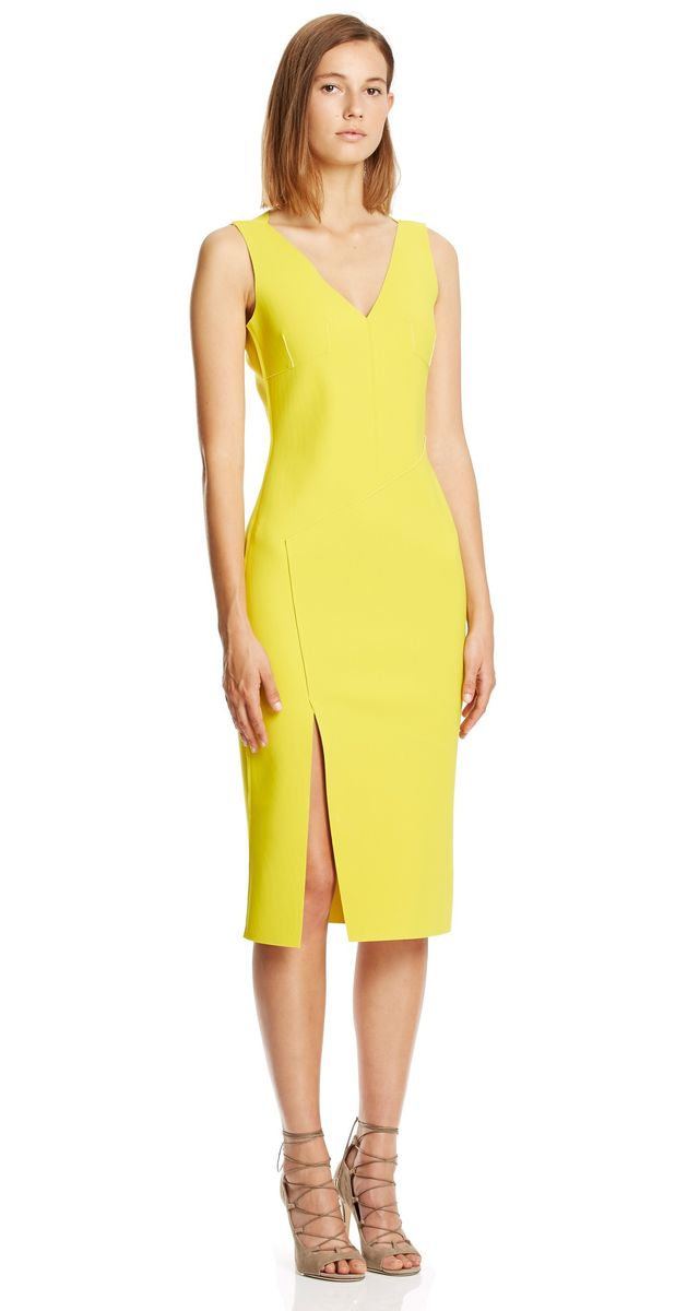 Scanlan Theodore Double Scuba V-Neck Dress