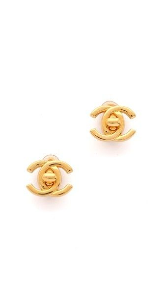 What Goes Around Comes Around Chanel Turn Lock CC Earrings