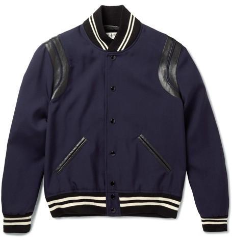 Leather-Trimmed Wool Varsity Jacket