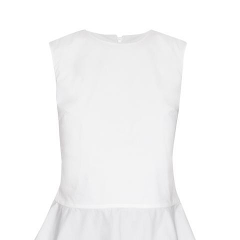 Ruffled-Hem Cotton-Blend Top