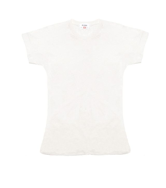Re/Done The 1960s Slim Tee in Vintage White