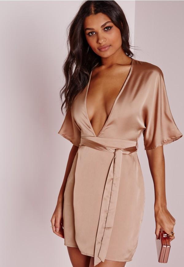 Missguided Silky Kimono Wrap Dress