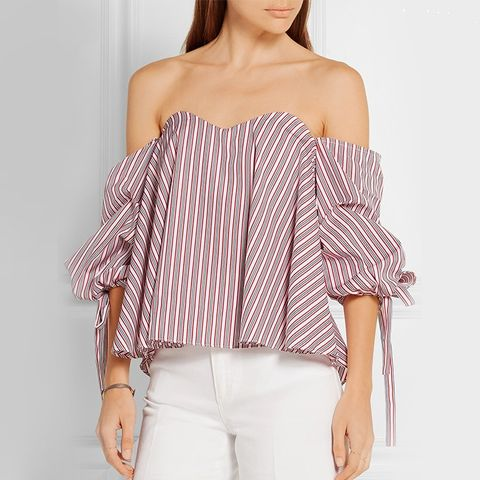 Off-the-Shoulder Stripped Cotton Bussier Top