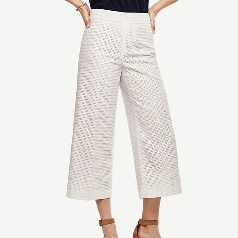 Eyelet Wide Leg Crop Pants