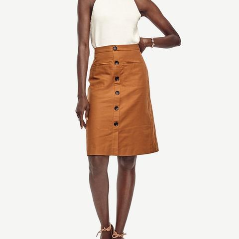 Linen Button Skirt