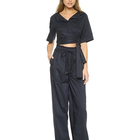 Open Neck Jumpsuit with Tie