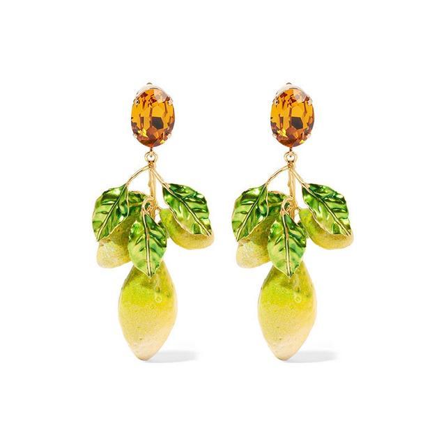 Dolce & Gabbana Gold Plated Swarovski Crystal Enamel Earrings