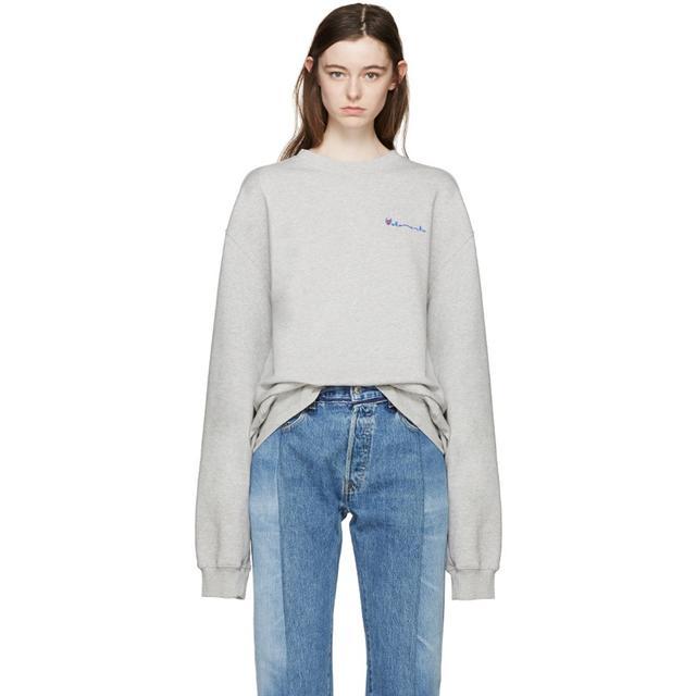 Vetements Grey Oversized Logo Pullover
