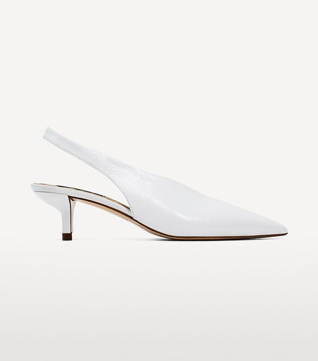 Zara Slingback Leather High Heel Shoes